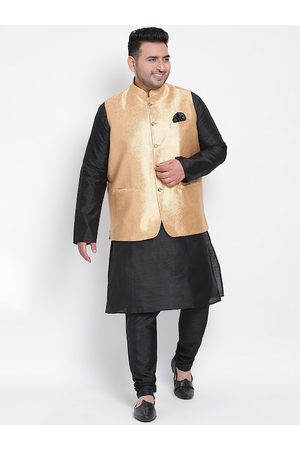 Hangup Men Black & Gold-Toned Solid Dupion Silk Kurta with Churidar & Jacket