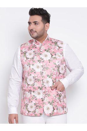 Hangup Men Jackets - Men Pink & White Printed Woven Nehru Jacket