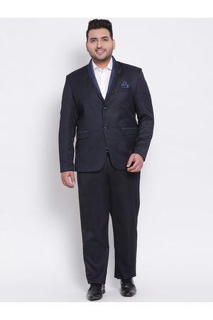 Hangup Men Suits - Men Navy Blue Solid Tuxedo Two-Piece Formal Suit