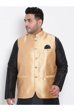 Hangup Men Gold-Coloured Woven Design Nehru Jacket
