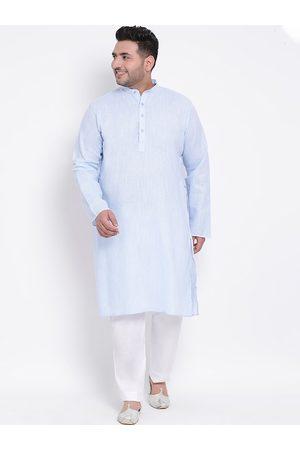 Hangup Men Blue & White Solid Kurta with Pyjamas