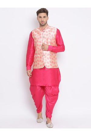 Hangup Men Pink Solid Kurta with Dhoti Pants & Nehru Jacket