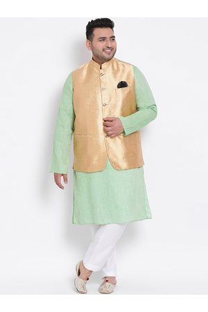 Hangup Men Sets - Men Green & White Solid Cotton Blend Kurta Set with Jacket