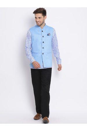 Hangup Men Trousers - Men Blue & Black Printed Kurta with Trousers & Nehru Jacket