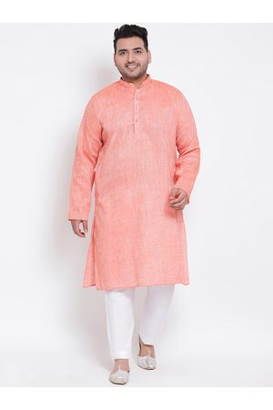Hangup Men Peach-Coloured & White Solid Kurta with Trousers