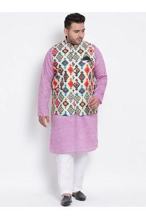 Hangup Men Multicoloured Self Design Kurta with Pyjamas