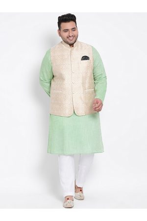 Hangup Men Pyjamas - Men Multicoloured Solid Kurta with Pyjamas & Nehru Jacket