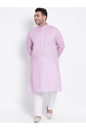 Hangup Men Pyjamas - Men Purple & White Self Design Kurta with Pyjamas
