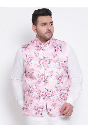 Hangup Men Pink & White Printed Woven Nehru Jacket