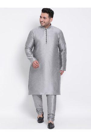Hangup Men Grey Solid Kurta with Pyjamas
