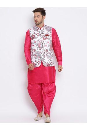 Hangup Men Pink & White Solid Dupion Silk Kurta with Patiala & Nehru Jacket