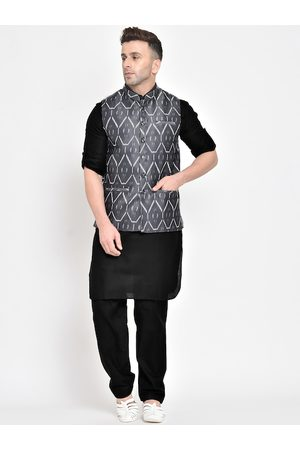 Hangup Men Grey & Black Solid Kurta with Salwar & Nehru Jacket