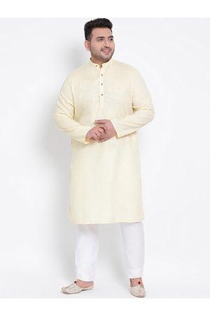 Hangup Men Yellow Self Design Kurta with Pyjamas