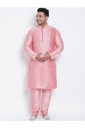 Hangup Men Pink Solid Kurta with Churidar