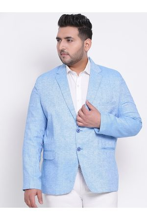 Hangup Men Blue Solid Single-Breasted Blazer
