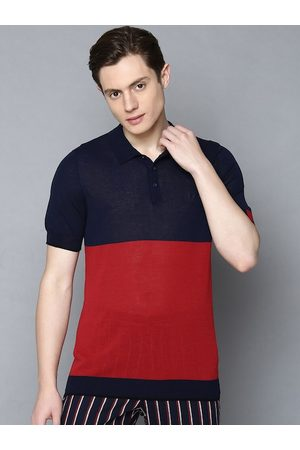 Antony Morato Men Red Colourblocked Polo Collar T-shirt