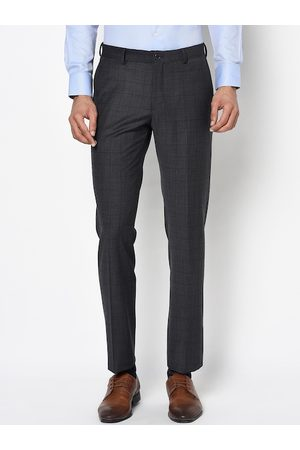 Blackberrys Men Charcoal Grey Slim Fit Checked Formal Trousers