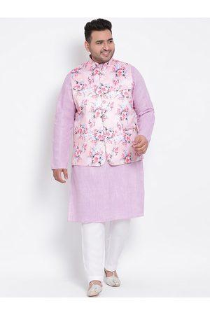 Hangup Men Purple & White Solid Kurta with Pyjamas With Nehru Jacket