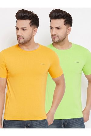 Okane Men Pack Of 2 Solid Round Neck T-shirts