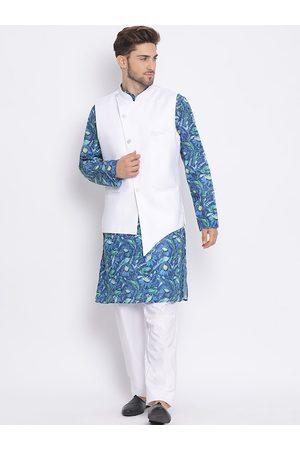 Hangup Men White & Blue Self Design Kurta with Pyjamas & Jacket