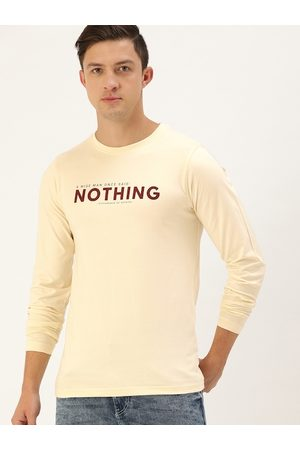 Difference of Opinion Men Cream-Coloured Pure Cotton Typography Printed Round Neck T-shirt