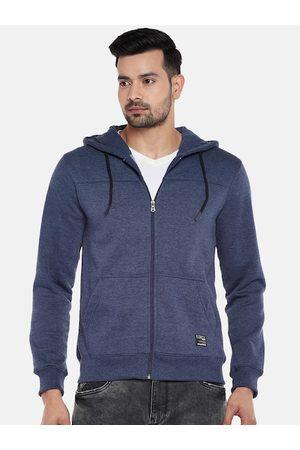 PEOPLE Men Navy Blue Solid Hooded Sweatshirt