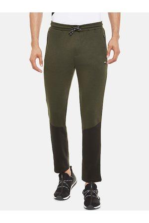 Pantaloons Men Olive Green Solid Slim-Fit Track Pants