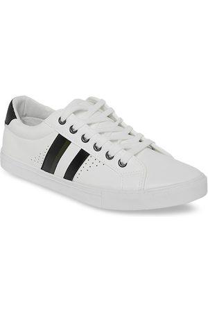 Pantaloons Men White & Black Striped Sneakers