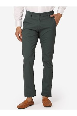 Wintage Men Green Regular Fit Solid Regular Trousers
