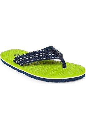 Pantaloons Men Lime Green & Navy Blue Solid Thong Flip-Flops
