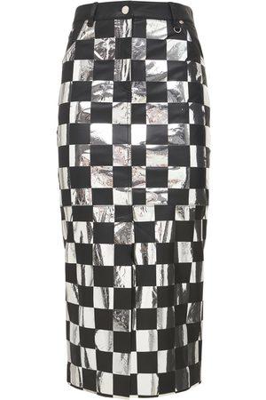 MATÉRIEL by Aleksandre Akhalkatsishvili Check Faux Leather Midi Skirt