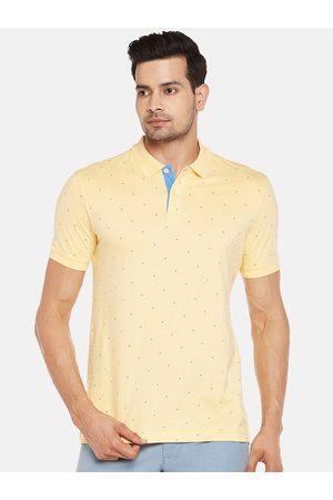 Pantaloons Men Yellow Printed Polo Collar T-shirt