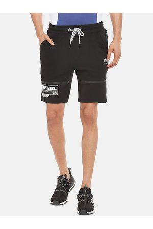 Pantaloons Men Black Striped Slim Fit Sports Shorts