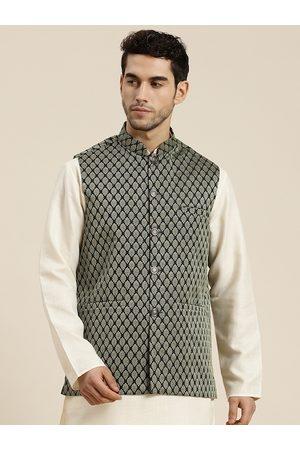 SOJANYA Men Olive Green & Beige Woven Design Jacquard Silk Nehru Jacket