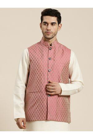 SOJANYA Men Jackets - Men Pink & Beige Self Design Jacquard Nehru Jacket