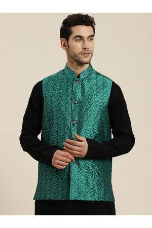 SOJANYA Men Jackets - Men Green & Black Self Design Jacquard Nehru Jacket