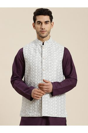 SOJANYA Men Grey & White Woven Design Nehru Jacket