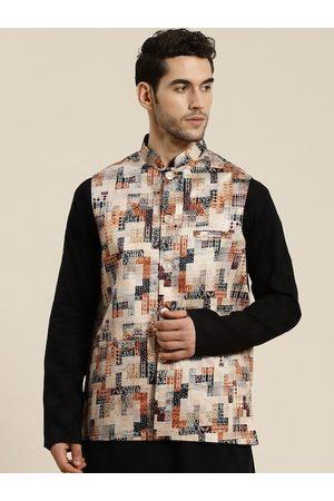 SOJANYA Men Jackets - Men Beige & Rust Orange Printed Silk Blend Nehru Jacket