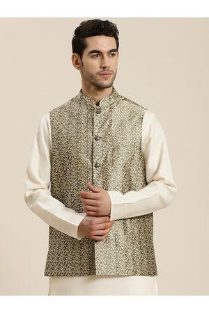 SOJANYA Men Charcoal Grey & Beige Self Design Jacquard Nehru Jacket