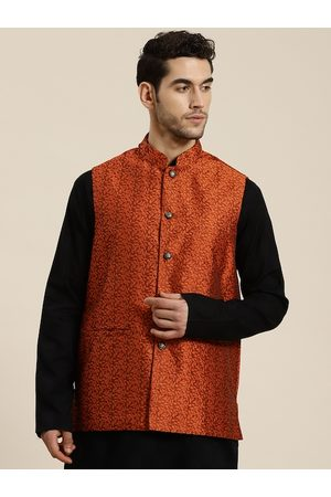 SOJANYA Men Rust Orange Self Design Jacquard Nehru Jacket