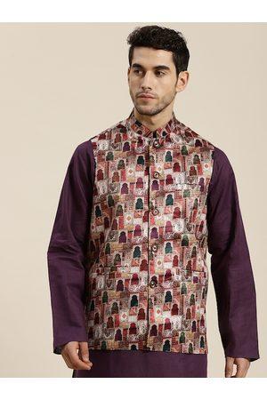 SOJANYA Men Off White & Purple Printed Nehru Jacket
