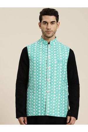 SOJANYA Men Jackets - Men Blue & White Woven Design Nehru Jacket