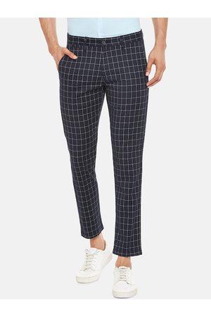 Pantaloons Men Slim Trousers - Men Navy Blue & White Slim Fit Checked Regular Trousers