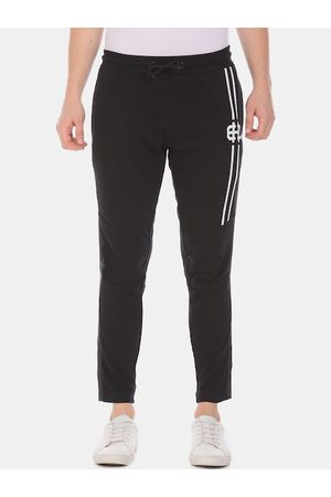 ED HARDY Men Black & White Solid Straight Fit Track Pants