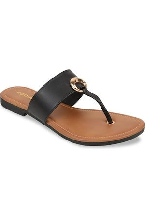 Rocia Women Black Solid T-Strap Flats
