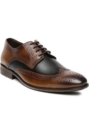 San Frissco Men Brogues - Men Tan Brown & Black Leather Brogues