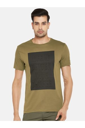 PEOPLE Men Olive Green Pure Cotton Printed Round Neck T-shirt