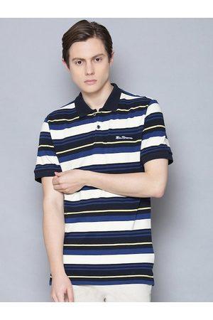 Ben Sherman Men Polo Shirts - Men Navy Blue Striped Polo Collar T-shirt