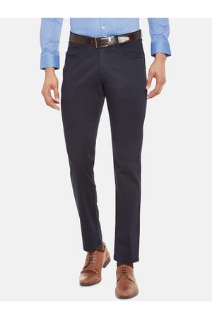 RICHARD PARKER by Pantaloons Men Navy Blue Slim Fit Solid Formal Trousers