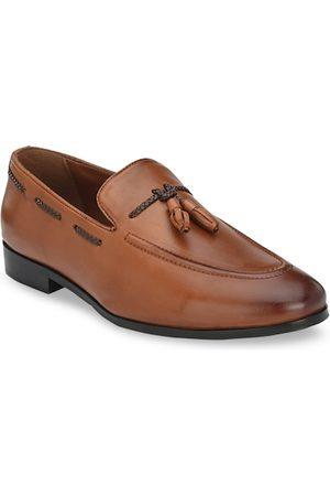 San Frissco Men Loafers - Men Tan Brown Leather Loafers
